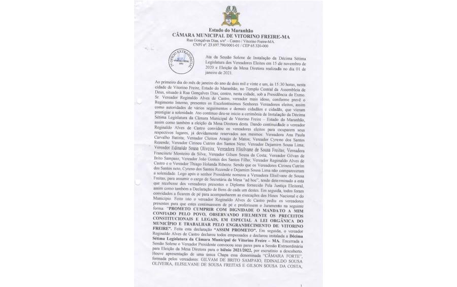 Ata da Sessão Solene de Instalação da Decima Setima Legislatura dos Vereadores eleitos em 15 de Novembro de 2020